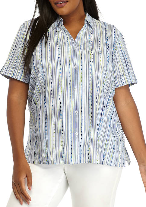 Alfred Dunner Plus Size Short Sleeve Button Up