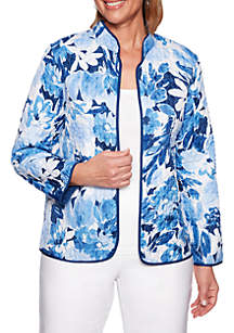 Alfred Dunner Petite Classics Reversible Floral Quilted Jacket
