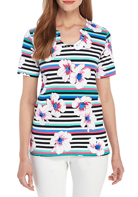 Alfred Dunner Petite Classics Floral Stripe T Shirt