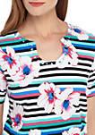 Petite Classics Floral Stripe T Shirt