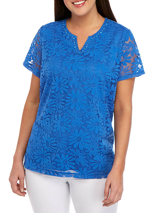 Alfred Dunner Petite Classics Solid Lace Knit Top