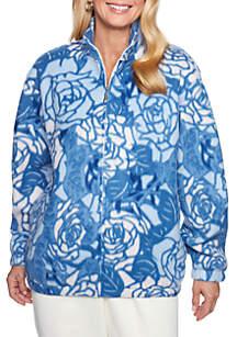 Alfred Dunner Classics Floral Polar Fleece Sweater
