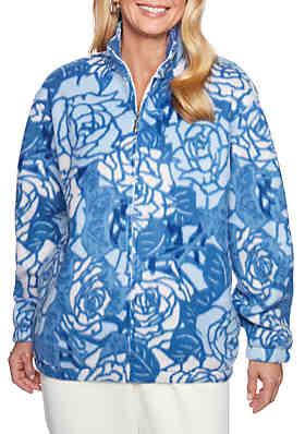 7babf8762c5 Alfred Dunner Classics Floral Polar Fleece Sweater ...