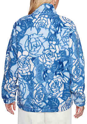 2ff7d010018 Alfred Dunner Classics Floral Polar Fleece Sweater Alfred Dunner Classics Floral  Polar Fleece Sweater