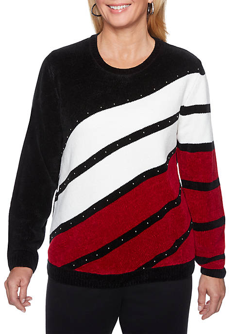 Alfred Dunner Beaded Diagonal Chenille Sweater