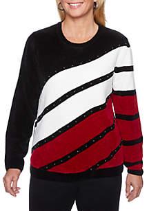 Beaded Diagonal Chenille Sweater