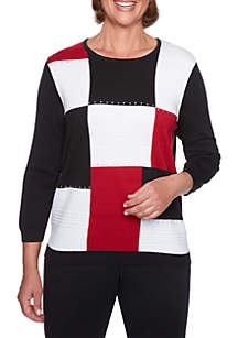 Alfred Dunner Boxes Embellished Sweater