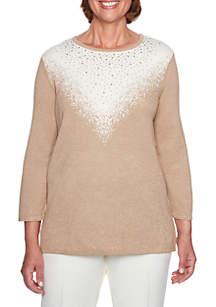 Alfred Dunner Glitter Yoke Sweater