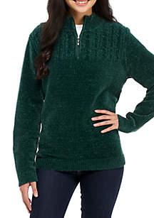 1/4 Zip Chenille Sweater