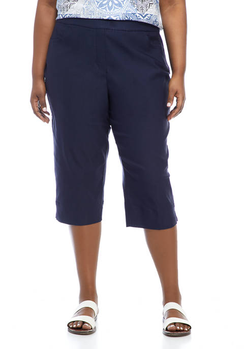 Alfred Dunner Plus Size Solid Capris