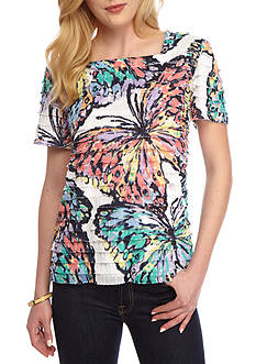Alfred Dunner Petite Classic Eyelash Butterfly Top