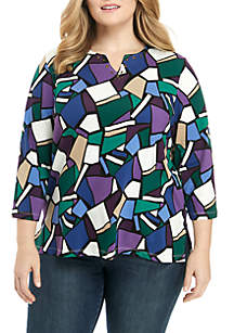 Plus Size Knit Stained Glass Top