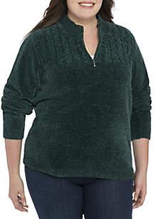 Plus Size Classic Chenille 1/4 Zip Sweater