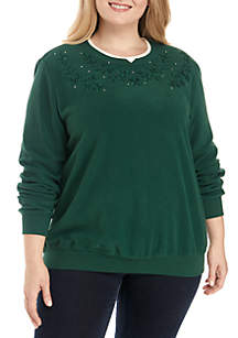 Plus Size Floral Embellished Sweater