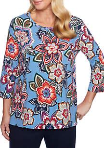 Petite Etched Floral Knit Top