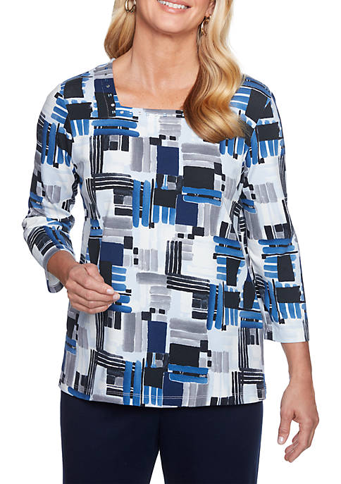 Alfred Dunner Petite Classic Brushstroke Knit Top