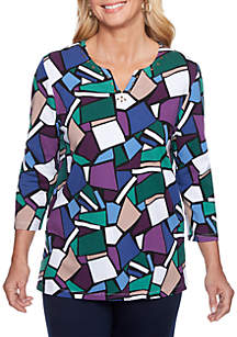 Petite Classic Stained Glass Knit Top