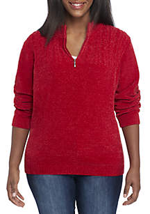 Petite 1/4 Zip Chenille Sweater