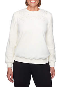 Petite Classics Floral Embellished Anti-Pill Sweater