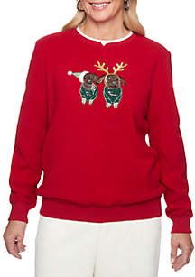 Petite Classics Holiday Anti-Pill Puppies Sweater