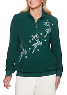 Petite Classics Holiday Anti-Pill Reindeer Sweater