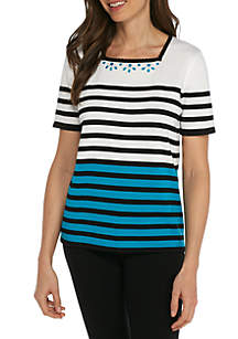 Classics Stripe Short Sleeve Sweater