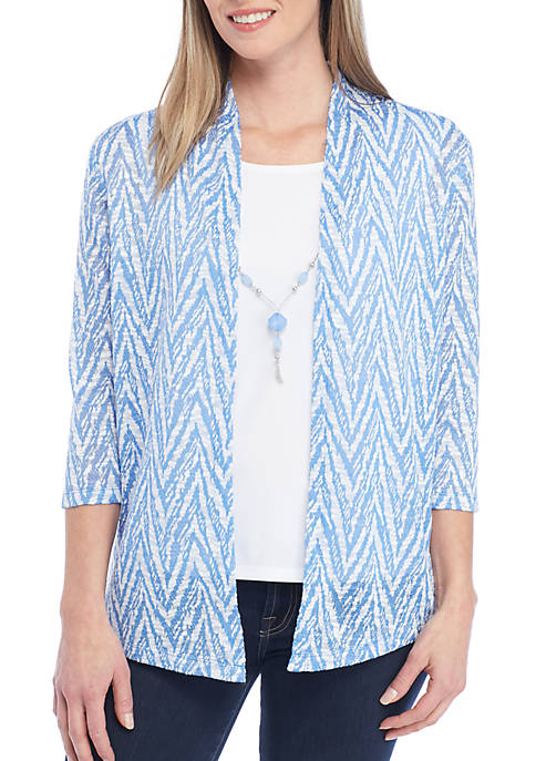 Alfred Dunner Classics Three-Quarter Sleeve Zip Zag 2Fer