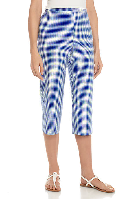 Alfred Dunner Petite Check It Out Gingham Capri