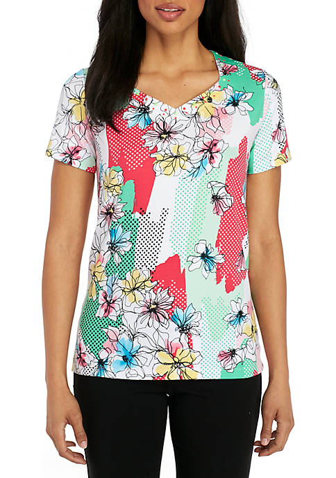 Alfred Dunner Petite Floral Patchwork Print Knit Top