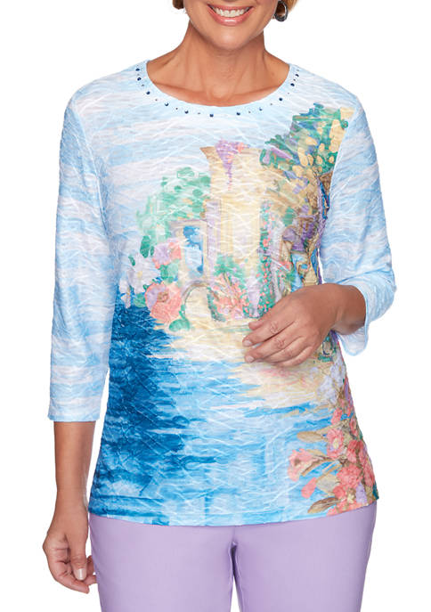 Alfred Dunner Womens Classics Floral Striped Novelty T-Shirt