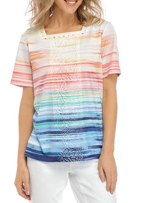 Alfred Dunner Womens Stripe Patch Knit Shirt