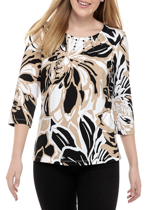 Alfred Dunner Womens Classics 2020 Exploded Floral Knit