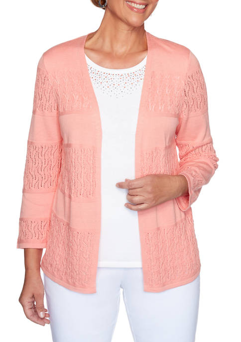 Alfred Dunner Womens Classics Biadere Pointelle 2Fer Top