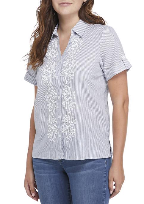 Alfred Dunner Womens Classics Pinstripe Puff Print Shirt