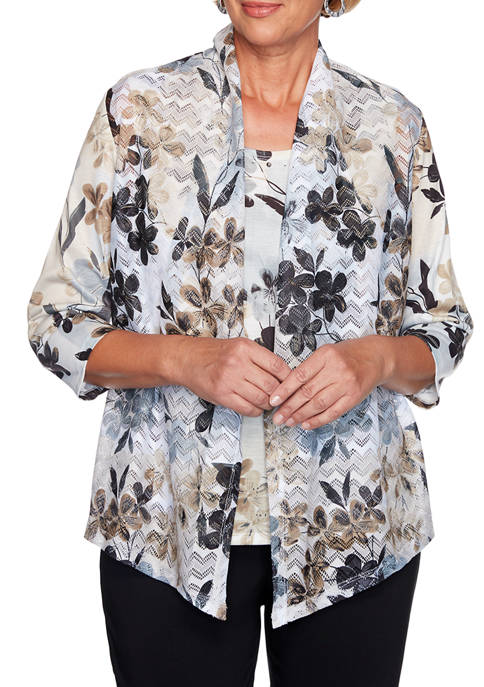 Alfred Dunner Womens Classics Floral Patch 2Fer Top