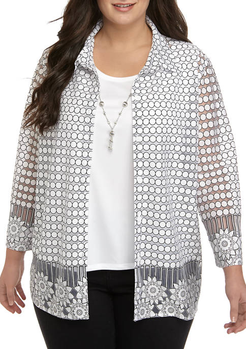 Alfred Dunner Plus Size 3/4 Sleeve Lace 2Fer