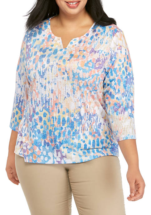 Alfred Dunner Plus Size Classics Collection Floral Border