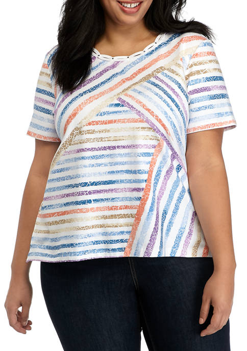 Alfred Dunner Plus Size Short Sleeve Top
