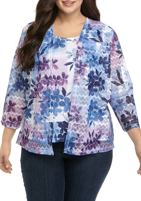 Alfred Dunner Plus Size 3/4 Sleeve Printed Lace