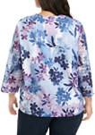 Plus Size 3/4 Sleeve Printed Lace 2Fer Top