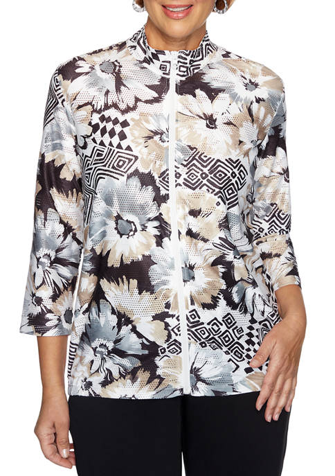 Alfred Dunner Petite Classic Floral Geometric Jacket