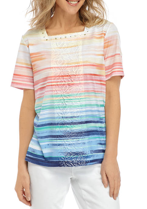Alfred Dunner Petite Stripe Patch Knit Shirt