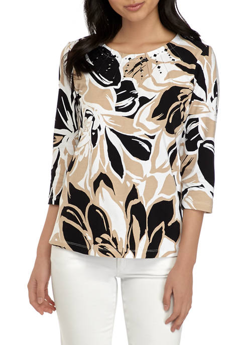 Alfred Dunner Petite Classics Exploded Floral Knit Top