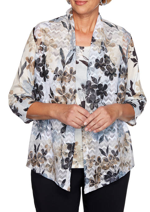 Alfred Dunner Petite Classic Floral Patch 2Fer Top