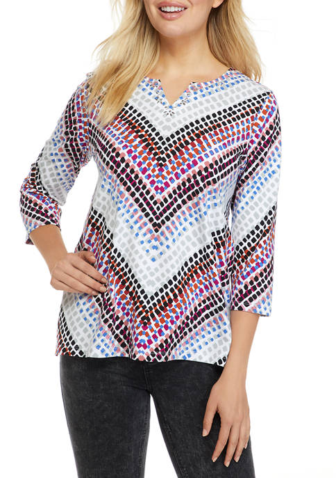 Alfred Dunner Womens Classics Chevron Knit Top