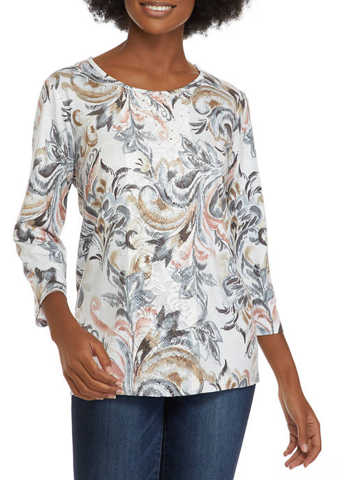 Alfred Dunner Womens Classics Scroll Knit Top