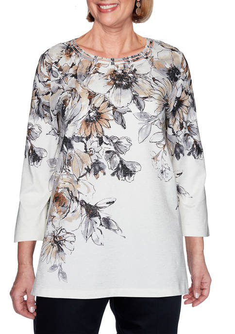 Alfred Dunner Womens Classics Floral Yoke Top