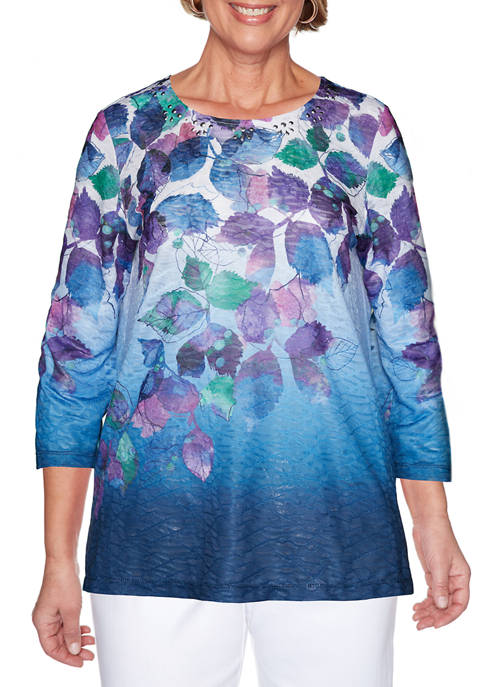 Alfred Dunner Womens Classics Ombre Textured Top