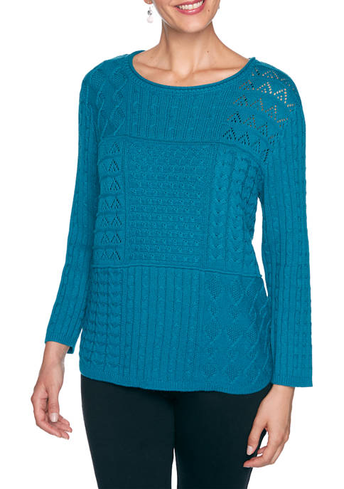 Alfred Dunner Womens Classics Mixed Stitch Patchwork Sweater