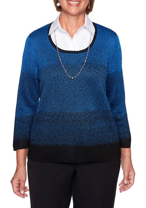 Alfred Dunner Womens Classics Ombré 2Fer Sweater